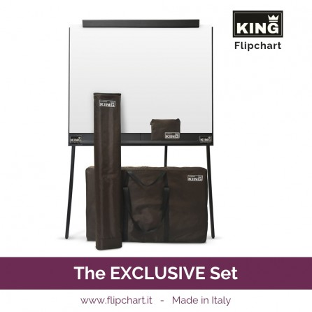 KING EXCLUSIVE is the double wide foldable and portable flipchart with the elegant cases and 4 pads