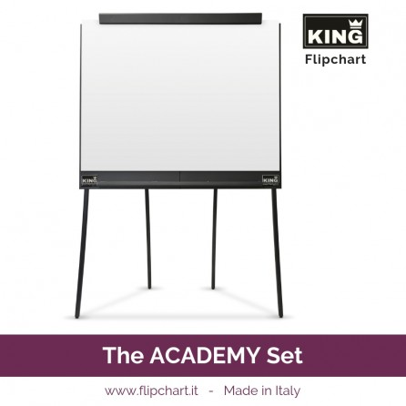 KING ACADEMY SET is made of the big KING Flipchart and 4 huge paper pads. KING is ready to support you on the stage and in video