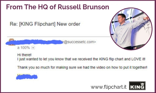 Russel Brunson is proud of his giant flipchart KING for stages and presentations
