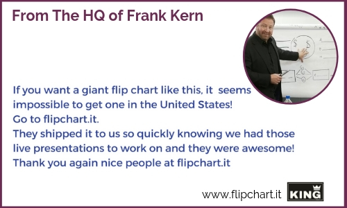 Frank Kern is happy to use the big KING Flipchart because he can use a bunch of space